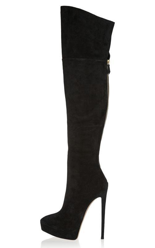 Donna Stiletto High Heel Sue Over The Gine  Thigh stivali Platform scarpe Back Zip  risposte rapide