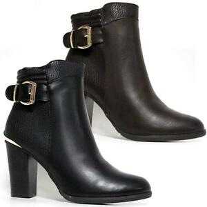 Image Is Loading Las High Heel Ankle Boots Womens Smart Office