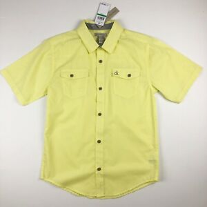 Calvin-Klein-Jeans-Boys-Button-Down-Shirt-Short-Sleeve-Yellow-Size-14-16-NWT