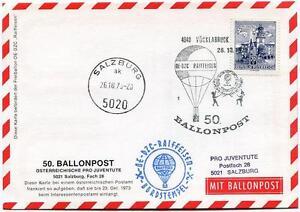 HonnêTe 1973 Ballonpost N. 50 Pro Juventute Aerostato Oe-dzc Raiffesen Vocklabruck