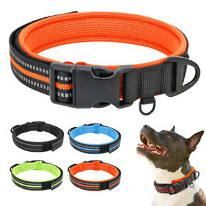 Nylon-Reflective-Dog-Collar-Soft-Mesh-Padded-Small-Medium-Large-Bulldog-Boxer