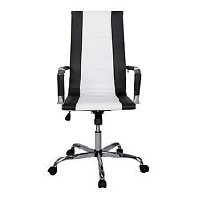 Pu Leather Executive Office Chair High Back Ribbed Upholstered Modern New