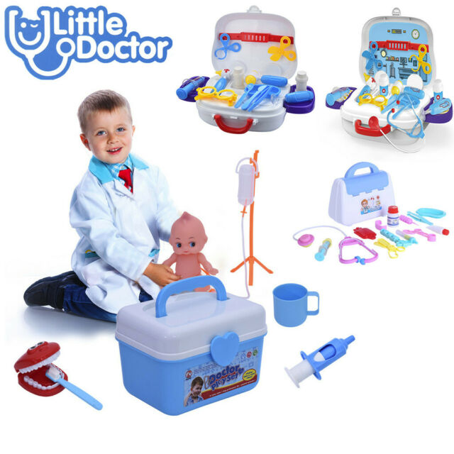 15PCS Dentist Doctor Medical Set Kids Role Play Pretend Toy Carry Box Case UK
