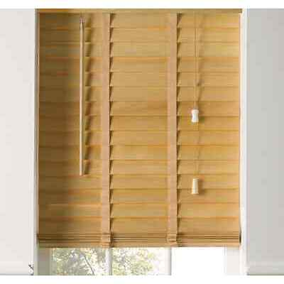 Hard Wood Venetian Blinds Light Wood Natural 50mm Slats with Tapes 60 to 180cm