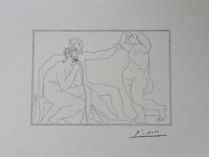 Pablo Picasso (Según ) : Los 2 Masters Y El Muse Litografía Firmada 1200ex