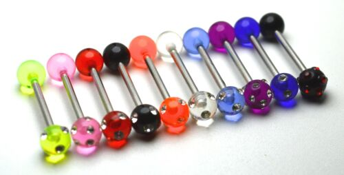 Acrylic Multi Gem Eternity Tongue Bar Body Jewellery Choose colour