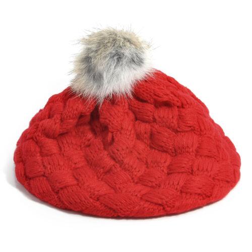 Baby Kids Girls Toddler Winter Warm Knitted Crochet Fur Beanie Hat Beret Cap