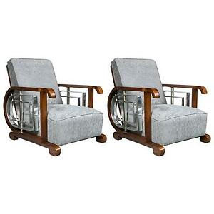 Pair Of Mid Century Modern Art Deco Style Lounge Theater Chairs 101 Wh6 EBay