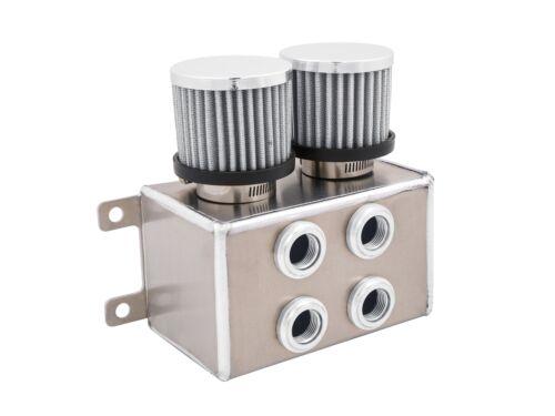 8AN 10AN Silvr Universal Aluminum 1.2L Baffled Motor Oil Breather Tank 4 Ports