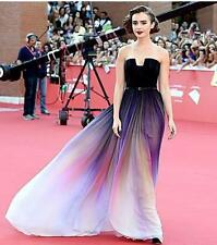Elie Saab Lily Collins Ombre Prom Dresses Quinceanera Dress Celebrity Party Gown
