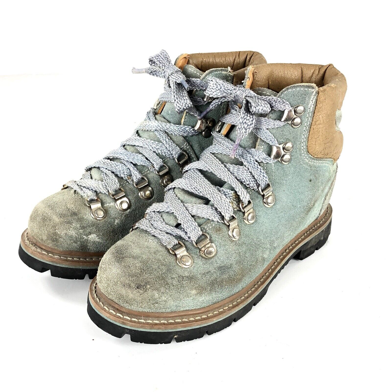 Vintage Coasters Mountaineer Womens bluee Suede Lace up Hiking Ankle Boot Sz 8