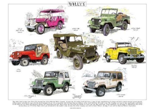 CJ-5 Renegade 1 Jeepster Gala Surrey CJ-7 WILLYS JEEP Fine Art Print A3 size
