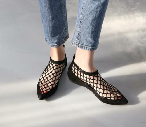 Summer Women Flat Soft Shoes Pointed Toe Mesh Slip On Casual Comfort Sandals Sz
