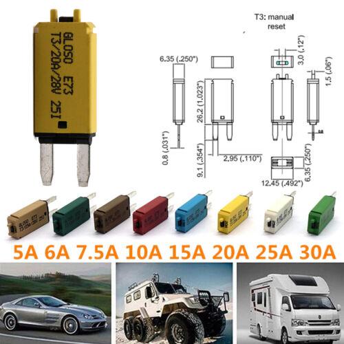5-30A Mini Manual Reset Mini Circuit Breaker Blade Fuse for Car Automobile Truck