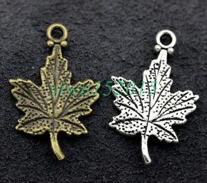 Tibetan silver charm pendant maple leaf fit DIY Necklace bracelet 15/50/300pcs