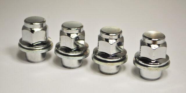 Conjunto de 4 X 1.25 X M12, asiento plana hexagonal de 21mm para tuercas de rueda de aleación Nissan (plata)
