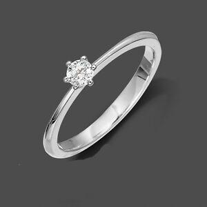 Verlobungsring Antragsring Echt Weiß Gold 585 Solitär Ring Brillant 0,05 ct w//si