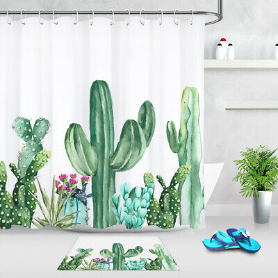Watercolor Cactus Floral Agave Bathroom Waterproof Fabric Shower Curtain Liner