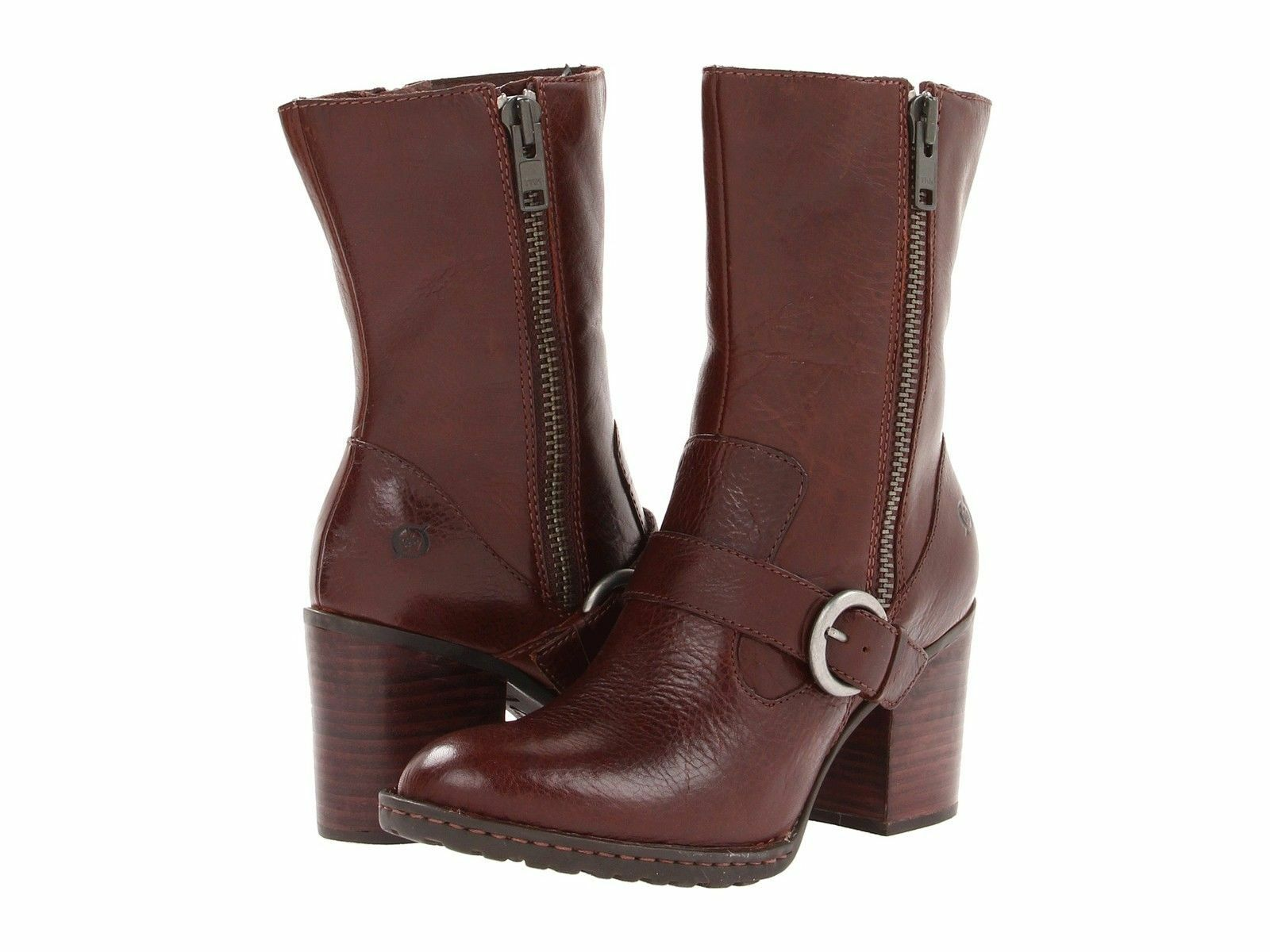 New Born Camryn Motorcycle Mid-Calf Brown Full Grain Leather Boots  Booties