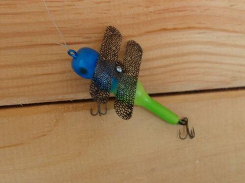 "Dragonflyskipnglide 3/"" Bass Fishing Lure blue greenish yellow with wings"