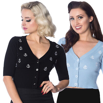 Honig Dancing Days Cropped Retro Rockabilly 1950s Vintage Nautical Anchor Cardigan Top Verpackung Der Nominierten Marke
