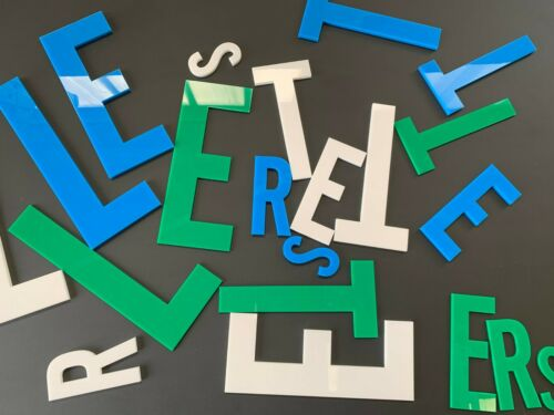 5mm Acrylic Laser Cut Floating Letters complete with locators and template