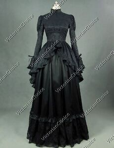 Image Is Loading Black Victorian Gothic Dress Penny Dreadful Theater Period