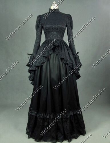 Victorian Dresses | Victorian Ballgowns | Victorian Clothing    Black Victorian Gothic Dress Penny Dreadful Dark Gown Theater Steampunk Punk 324 $159.00 AT vintagedancer.com
