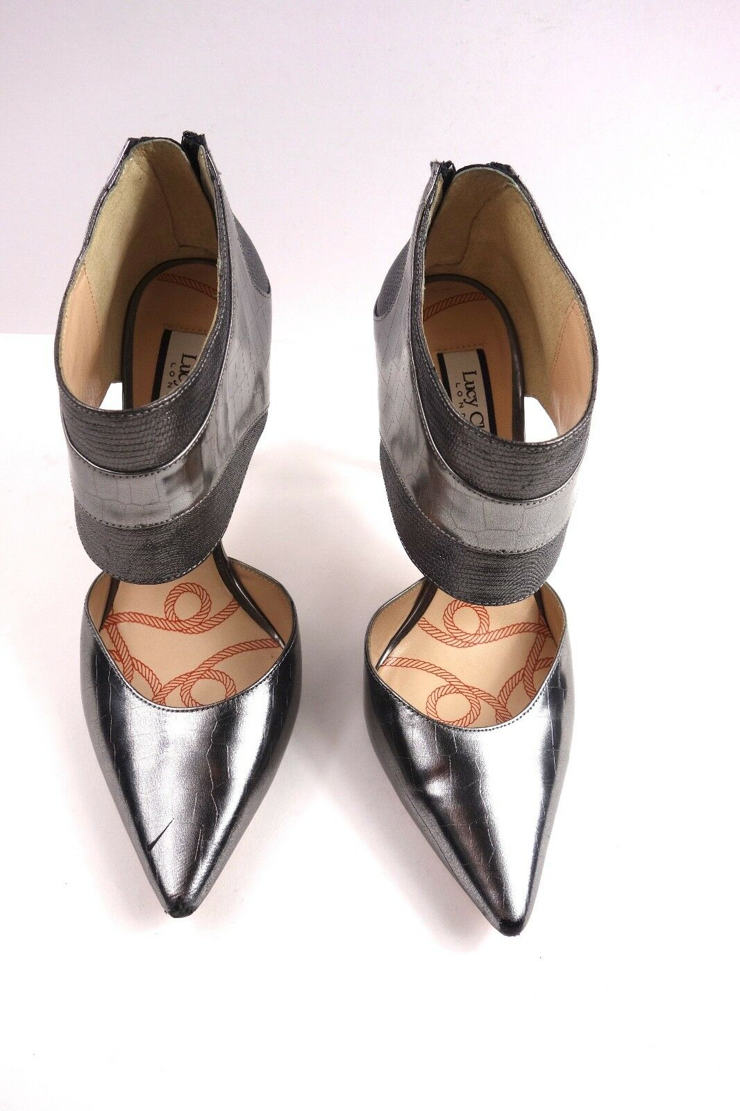 Lucy Lucy Lucy Choi Pewter Metallic Leather schuhe by Lucy Choi Designer schuhe Größe 38 377bd4