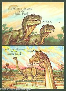 ANTIGUA DINOSAURS IMPERFORATED SOUVENIR SHEETS SCOTT#1549/50 MINT NH