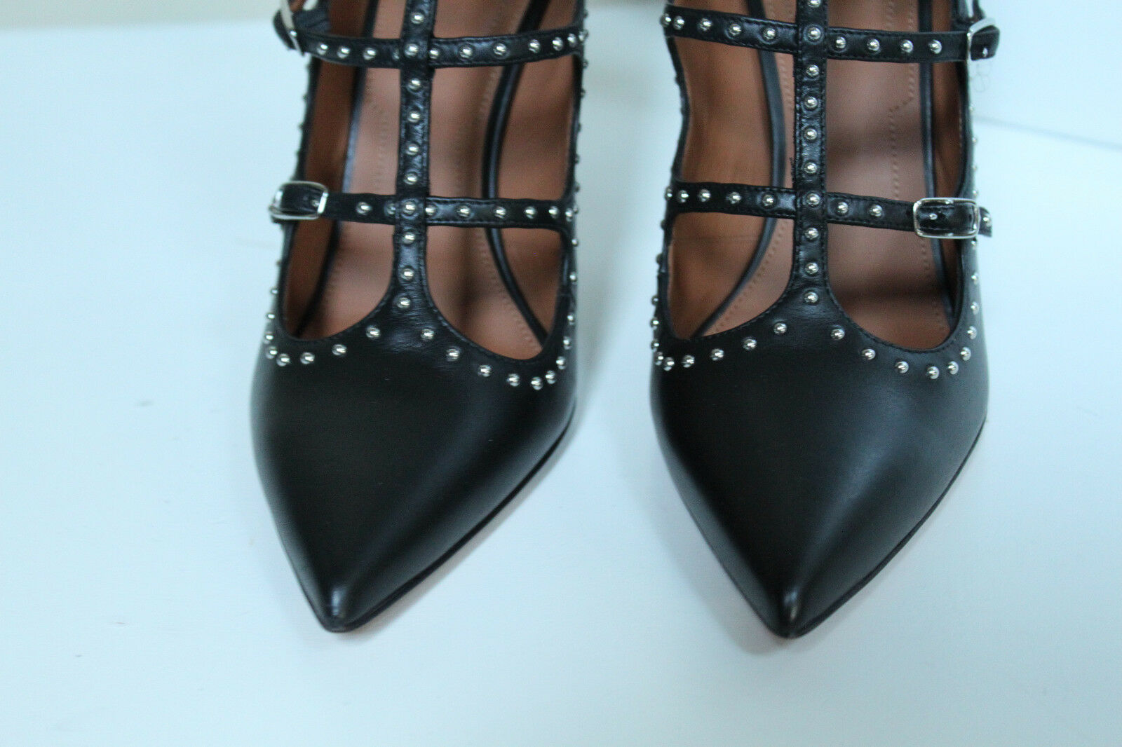 New sz 8.5     39 Givenchy Black Leather Studded Caged Boot Ankle Pump shoes 903bb3