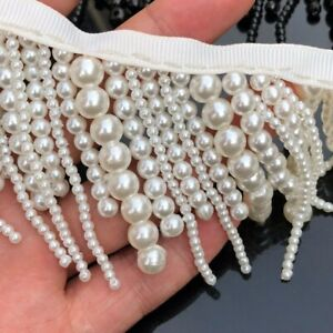 1-Yard-Hanging-Bead-Pearl-Tassel-Fringe-Lace-Edge-Trim-Ribbon-Costume-Sew-Craft