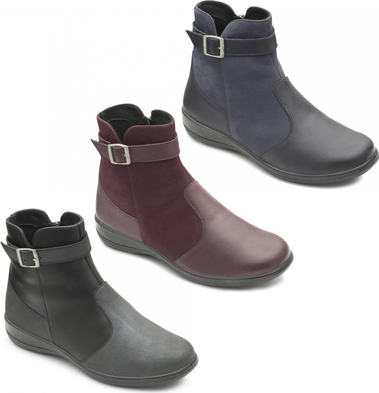 Padders MARY Ladies Womens Leather Extra Wide Dual Fit (2E 3E) Ankle Boots