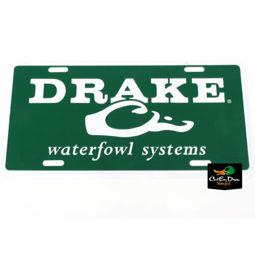 DRAKE WATERFOWL SYSTEMS AUTHENTIC LOGO GREEN METAL LICENSE PLATE WHITE LOGO