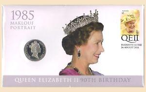 Australia-2016-QEII-90th-Birthday-Maklouf-Portrait-PNC-Stamp-20c-UNC-Coin-Cover