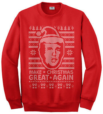 Trump Christmas Sweater.Threadrock Men S Donald Trump Ugly Christmas Sweater Sweatshirt Ebay