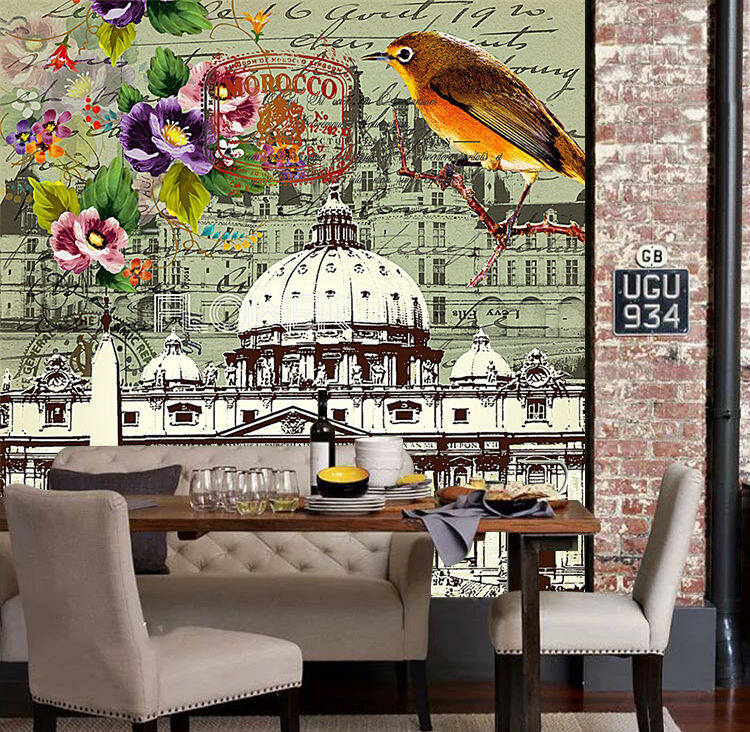 3D Bird, castle 667 Wall Paper Print Wall Decal Deco Indoor Wall Murals