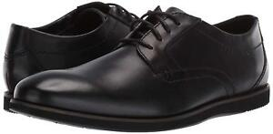 Uomo-Scarpe-Clarks-raharto-Plain-Comfort-in-Pelle-Oxfords-41580-Nero
