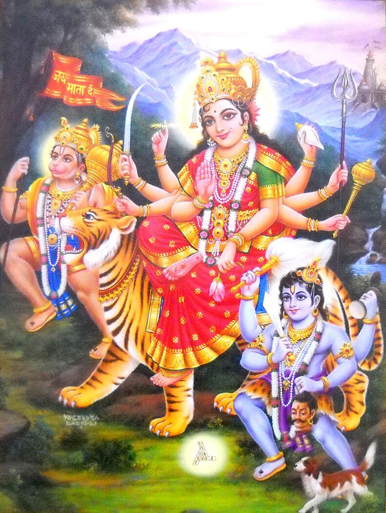 20\u2033 X 14\u2033 Inches Maa Durga Saadhvii Devi Hindu Goddess Picture Frame In Size