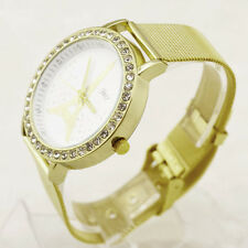 Women Ladies Crystal Tower Gold Stainless Steel Mesh Band Wrist Watch US Best
