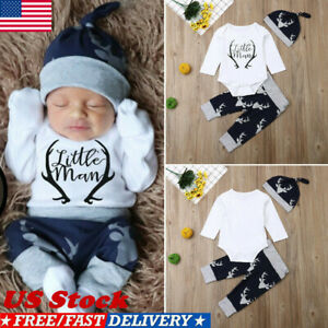Newborn-Baby-Boy-Clothes-Little-Man-Romper-Tops-Deer-Pants-Hat-Xmas-Outfits-US