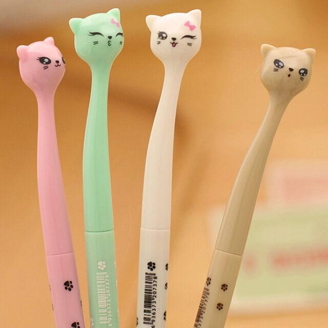 4pcs Cute Kawaii Fun black Gel ink Roller Ball Point Pen fine Cat Korean UKPL