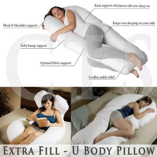 Extra Fill 9 Ft Comfort U Pillow Body Back Support Nursing Maternity Pregnancy