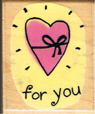 HEART -RUBBER STAMPEDE 'FOR YOU' WOOD MOUNTED RUBBER STAMP. APPROX 3 CM X 3.5 CM