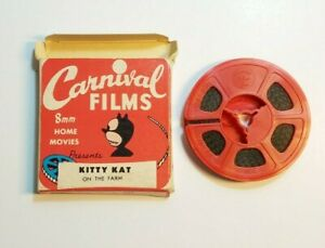 VINTAGE Carnival Films Cartoon 8mm Film Home Movie Kitty Kat On The Farm RARE