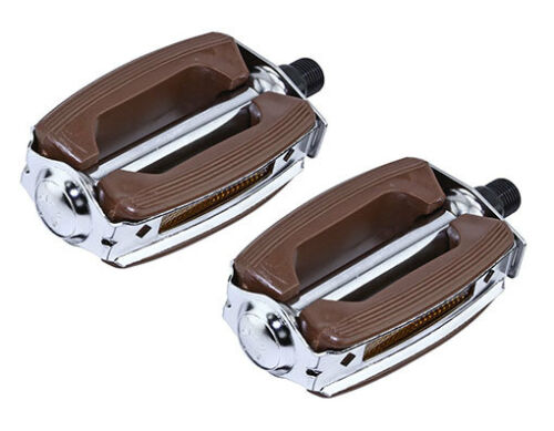"""New Bicycle Krate Rubber Pedals 9//16/"""" Brown//Chrome 202-628"""
