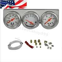 Us Tri- Gauge Set Universal 50mm Chrome Oil Pressure Water Volt Gauges Kit Meter