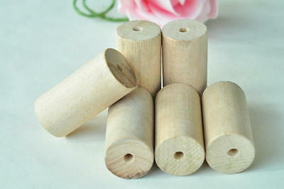 8pcs Wood Bead Cylinder Barrel Natural Unfinished Wooden Handmade Craft Painting