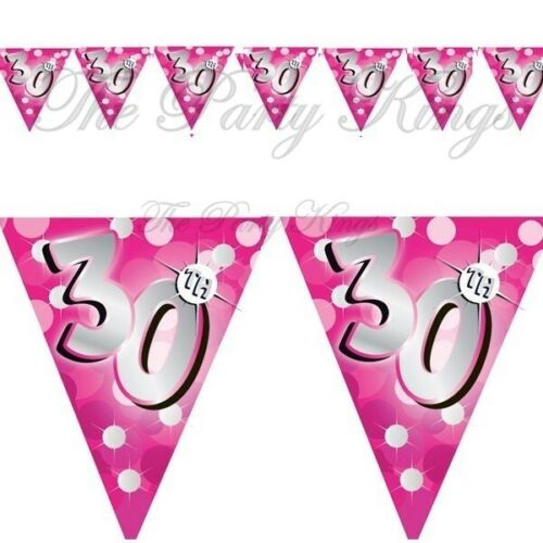 13ft Long 30 Foil Bunting Pink Sparkle 30th Birthday New /& Sealed