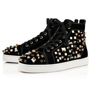 new concept ae578 5c61f Christian Louboutin Mens Louis Cube Flat Black Gold Spike ...